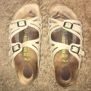 birkenstock granada cream tan strap sandals